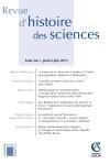 Revue d'histoire des sciences - Tome 66-1 (1-2013)