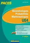 Biostatistiques Probabilités Mathématiques-UE 4 PACES : Manuel, cours + QCM corrigés
