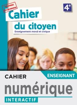 Version numérique enseignant Cahier du citoyen 4e - éd. 2019
