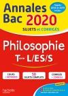 Annales Bac 2020 Philosophie Term L, ES, S