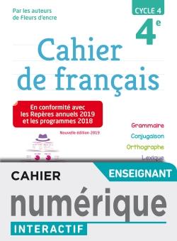 Version numérique enseignant Cahier de français cycle 4 / 4e - éd. 2019